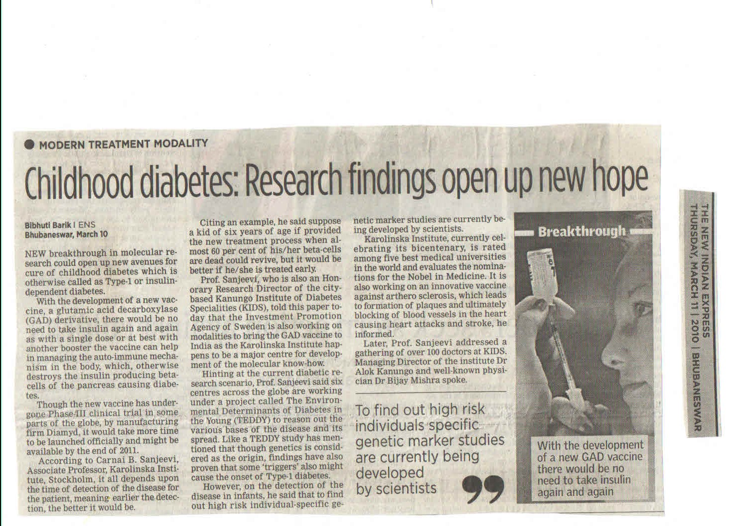 press release kanungo institute of diabetes and multispeciality   11 03 2010 childhood diabetes research fining open up new hope the new n express